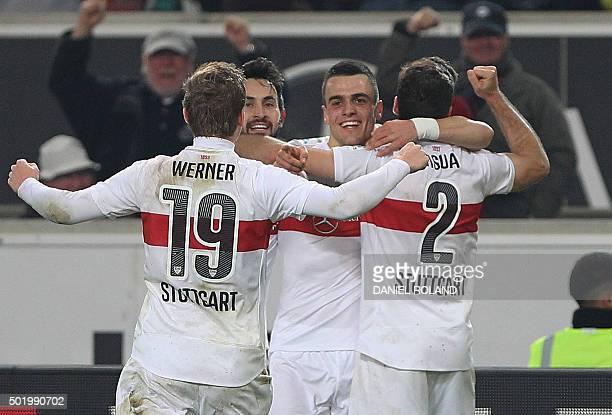 Stuttgart's Serbian midfielder Filip Kostic celebrates scoring the 21 during the German first division Bundesliga football match VfB Stuttgart vs VfL...