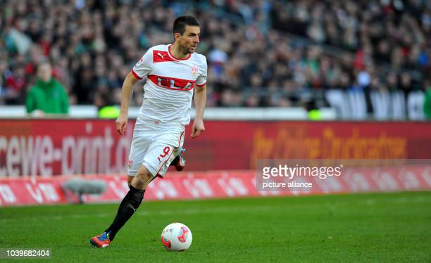 Stuttgart's Vedad Ibisevic controls the ball during the Bundesliga soccer match between Hanover 96 and VfB Stuttgart at AWD Arena in Hanover Germany...