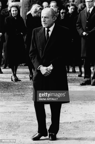 Stávros Niárchos aux obsèques de sa femme Athina Livanos le 16 octobre 1974 à Lausanne Suisse