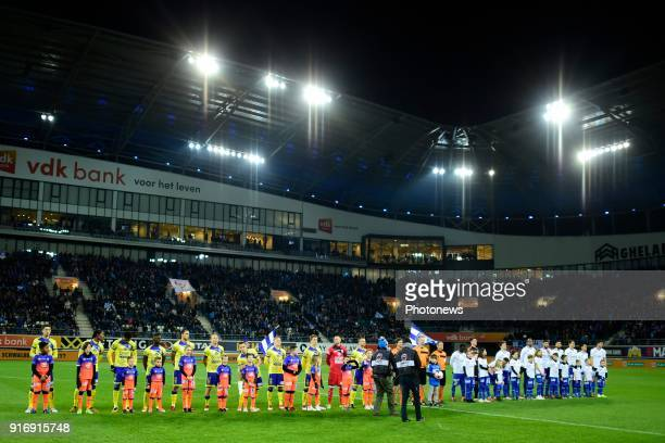 Stvv and KAA Gent lined up before the Jupiler Pro League match between KAA Gent and Sint Truidense VV at the Ghelamco Arena on February 10 2018 in...