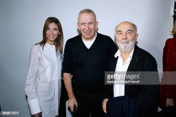 Styist Jean-Paul Gaultier pose between Gerard Jugnot and his wife Patricia Campi after the Jean-Paul Gaultier Haute Couture Spring Summer 2018 show...