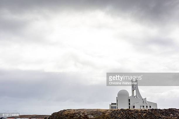stykkishólmskirkja - stykkishólmur church, west iceland - christine wehrmeier stock photos and pictures