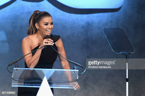 Style Ambassador Eva Longoria speaks onstage at the Accessories Council's 21st Annual celebration of the ACE awards at Cipriani 42nd Street on August...