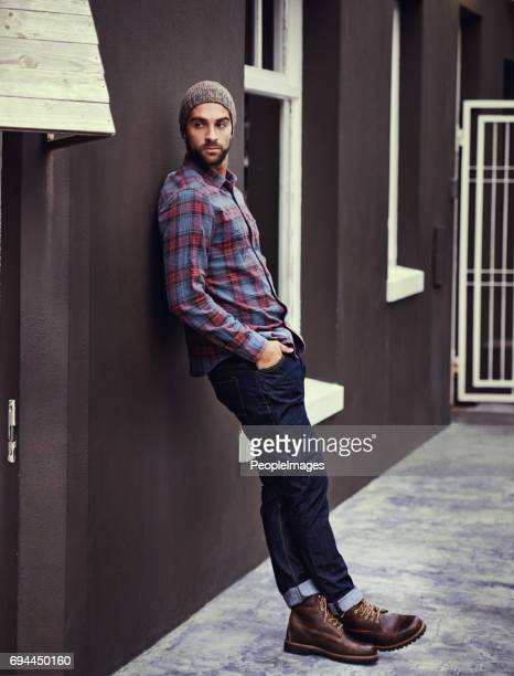 style and class early in the morning - checked shirt stock photos and pictures