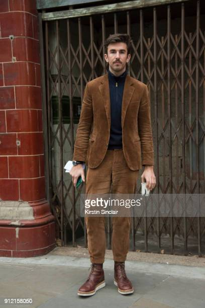 Style and Grooming Director British GQ Teo van den Broeke wears Grensen boots Brunello Cucinelli suit Paul Smith sweater day 3 of London Mens Fashion...
