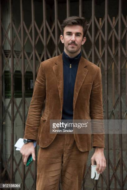 Style and Grooming Director British GQ Teo van den Broeke wears Brunello Cucinelli suit Paul Smith sweater day 3 of London Mens Fashion Week...
