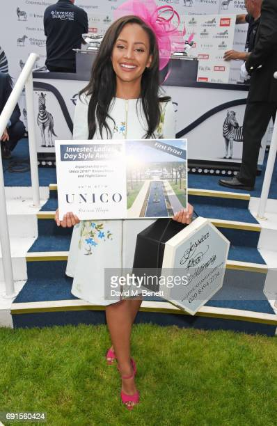 Style Award winner Abigail Scott attends Ladies Day of the 2017 Investec Derby Festival at The Jockey Club's Epsom Downs Racecourse at Epsom...