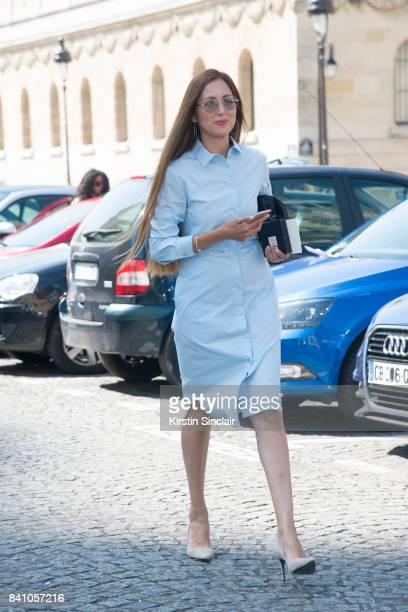 Style Blogger Saida Seythekova wears a Cos Dress and Kendall and Kylie shoes day 3 of Paris Haute Couture Fashion Week Autumn/Winter 2017 on July 4...