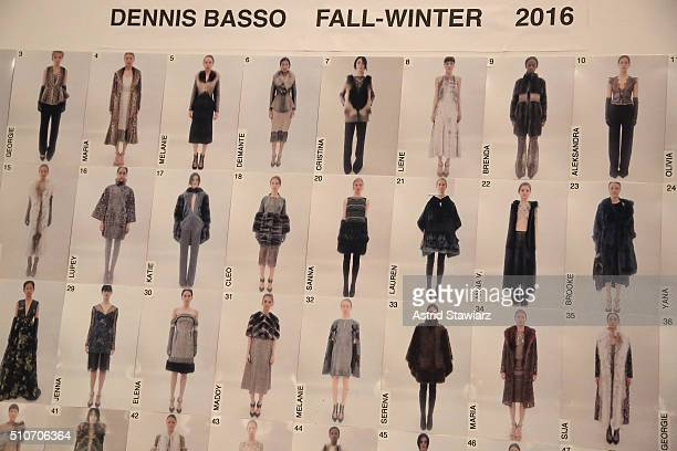 A style board backstage at the Dennis Basso Fall 2016 fashion show during New York Fashion Week The Shows at The Arc Skylight at Moynihan Station on...
