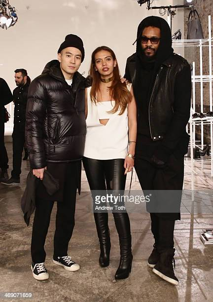 Style Director at Details Magazine Eugene Tong designer Karen Gallo and designer of Public School Maxwell Osborne attend the Karen Gallo presentation...