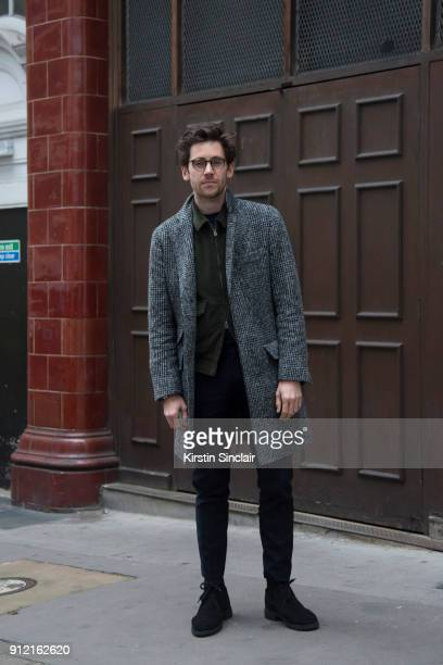 Style Director at Esquire magazine Charlie Teasdale wears a Brunello Cucinelli coat Kent and Curwen jacket Grenson shoes Oliver Peoples glasses day 3...