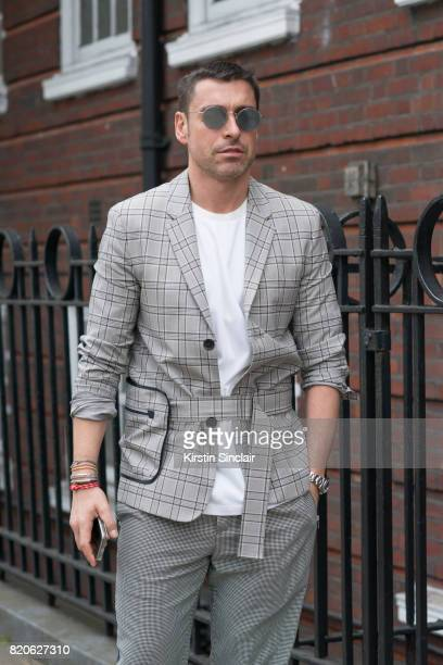 Style Director at WWD Alex Badia wears on day 3 of London Collections Men on June 12 2017 in Paris France