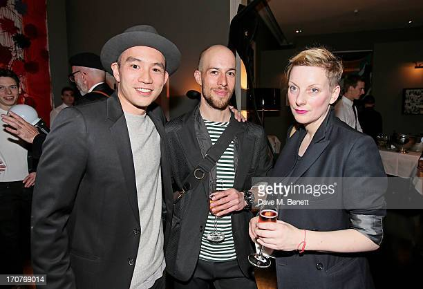 DETAILS Style Director Eugene Tong Justin Haig and Lou Dalton attend a DETAILS Magazine Cocktail Party To Celebrate London Collections Men hosted by...