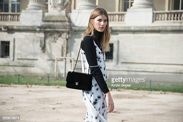 Style Editor for Harper'u2019s Bazaar Germany Veronika Heilbrunner wears an Ellery dress and Chanel bag on day 8 during Paris Fashion Week...
