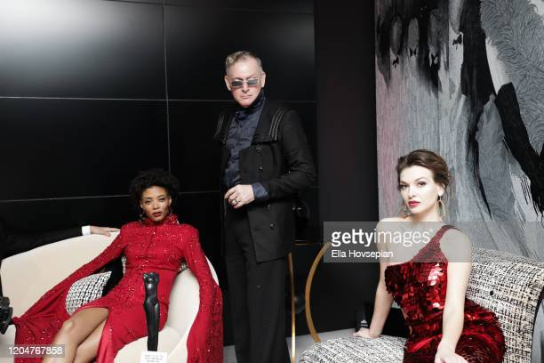 Style guru Montgomery Frazier and models at the LA Launch Event Of SohoMuse at Christopher Guy West Hollywood Showroom on February 07 2020 in West...