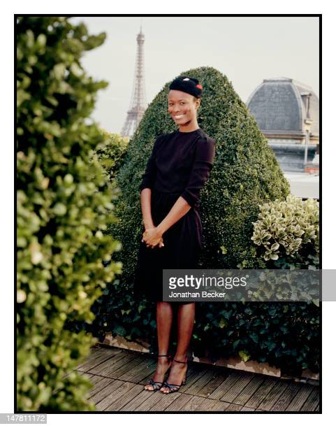Style icon Shala Monroque poses for Town Country Magazine on October 6 2011 at the Raphael Hotel in Paris France