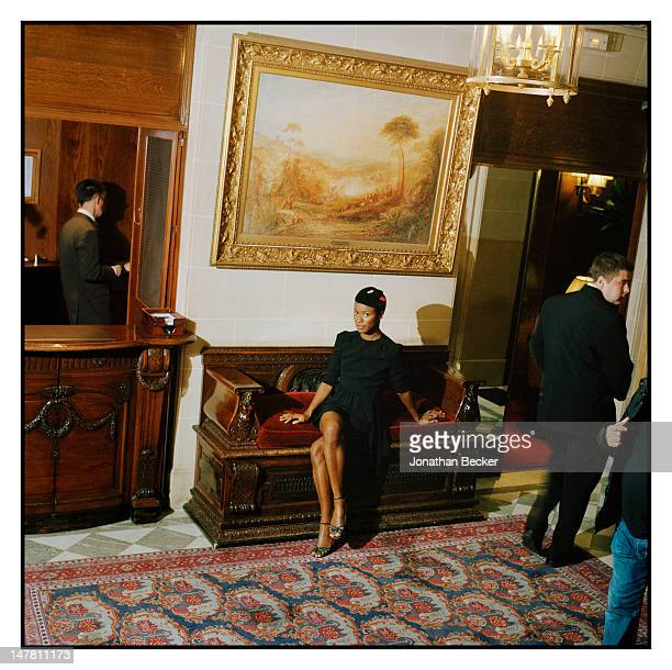 Style icon Shala Monroque poses for Town Country Magazine on October 6 2011 at the Raphael Hotel in Paris France PUBLISHED IMAGE