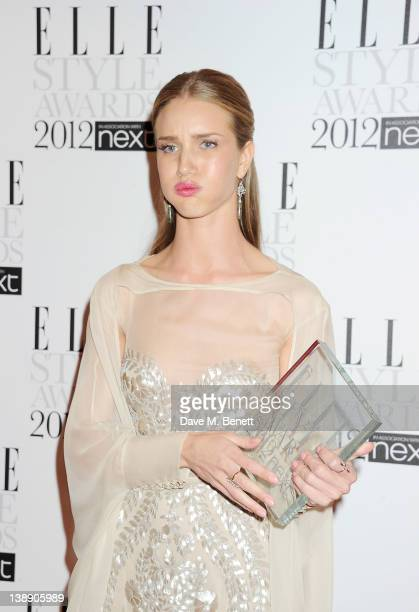 Style Icon winner Rosie HuntingtonWhiteley poses in the press room at the ELLE Style Awards at The Savoy Hotel on February 13 2012 in London England