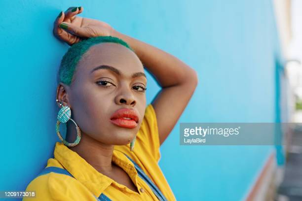 style that's fresh off the streets - green hair stock pictures, royalty-free photos & images