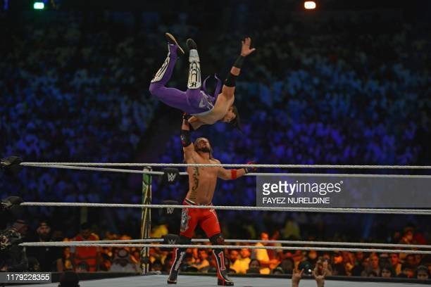 Styles fights against Humberto Carrillo during the World Wrestling Entertainment Crown Jewel pay-per-view in Riyadh on October 31, 2019.