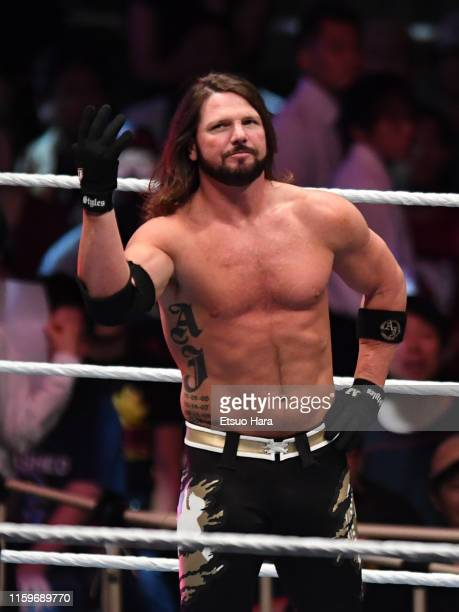 Styles looks on during the WWE Live Tokyo at Ryogoku Kokugikan on June 29, 2019 in Tokyo, Japan.