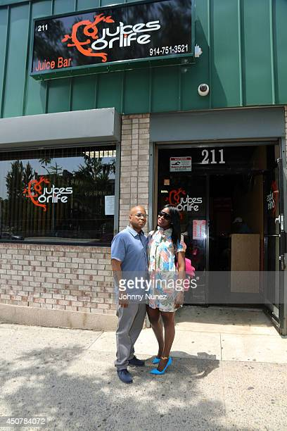Styles P and wife Adjua Styles attend the grand opening of Juices for Life on June 17 2014 in New York City