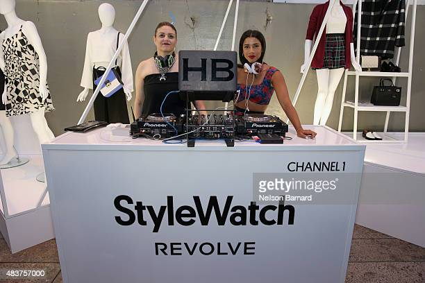 StyleWatch Editor Lisa Arbetter and Hannah Bronfman attend the StyleWatch x Revolve Fall Fashion Party on the The High Line on August 12 2015 in New...