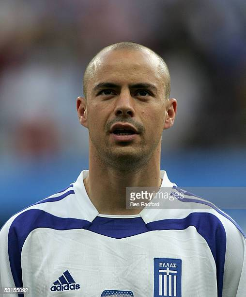 Stylianos Giannakopoulos of Greece during the Group B FIFA 2005 Confederations Cup match between Greece and Mexico at the Waldstadion on June 22 in...