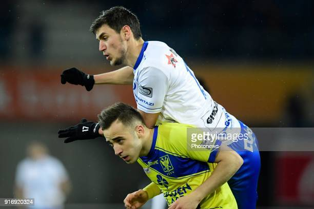 Stylianos Stelios Kitsiou defender of STVV in duel with Roman Yaremchuck forward of KAA Gent during the Jupiler Pro League match between KAA Gent and...