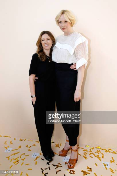 Stylidt Clare Waight Keller and Gwendoline Christie pose backsytage after the Chloe show as part of the Paris Fashion Week Womenswear Fall/Winter...