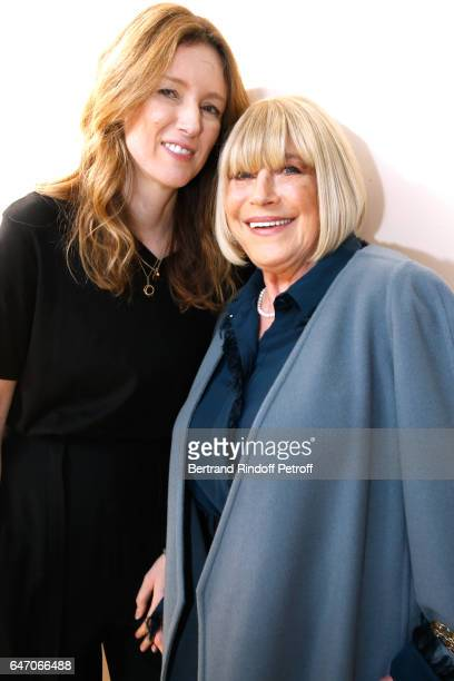 Stylidt Clare Waight Keller and Marianne Faithfull pose backsytage after the Chloe show as part of the Paris Fashion Week Womenswear Fall/Winter...