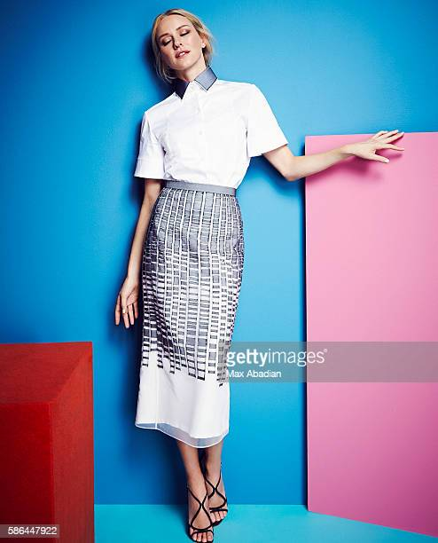Arabella Greenhill Hair Ryan Trygstad Makeup Mary Wiles Nails Gina Viviano Cotton shirt and embroidered silk tulle skirt both from a selection Hugo...