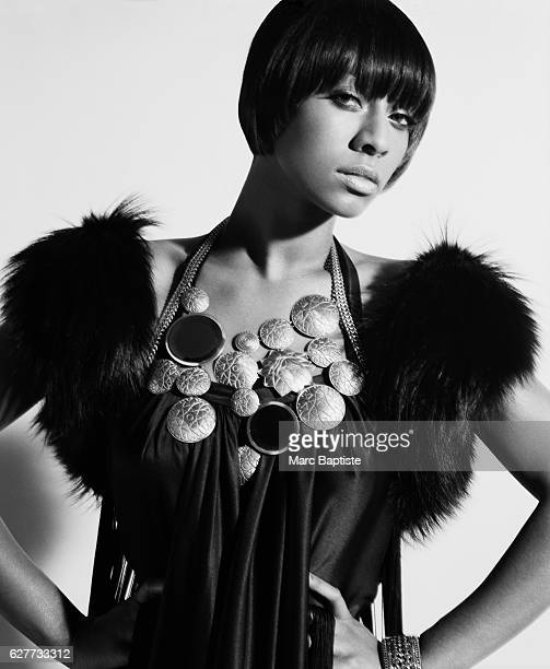 Kithe Brewster Makeup Aminata Gueye Dress and faux fur by Derercuny Bracelet by Juicy Couture
