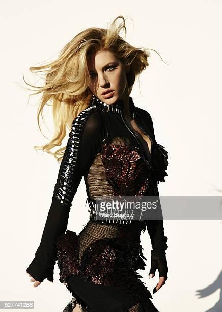 Lisa C Styles Makeup Melissa Rogers Hair Robert Steinken Manicure Manicure Elisa Wishan Black longsleeved mesh dress with mermaid skirt and brown...