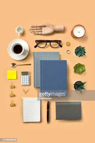 stylised flat lay financial planning working table top still life. - knolling concept stock pictures, royalty-free photos & images