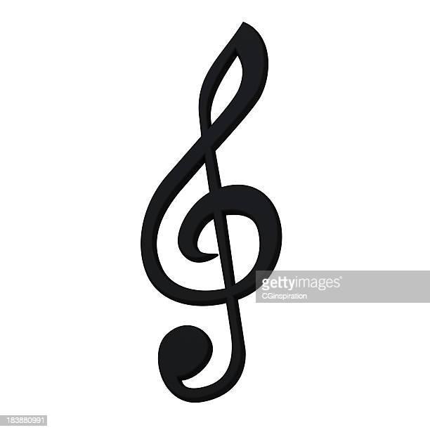 elegante 3d símbolo musical - clave de sol fotografías e imágenes de stock