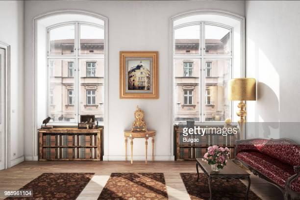 スタイリッシュでクラシックなリビング ルーム - ヨーロッパ文化 ストックフォトと画像