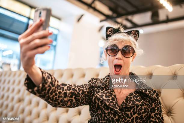 Stylish and Quirky Senior Woman at Restaurant