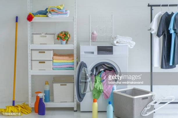 stylish bathroom interior with modern washing machine - tumble dryer stock pictures, royalty-free photos & images