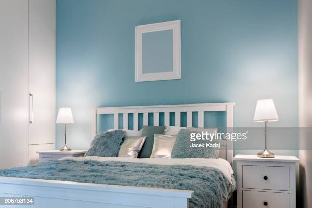 stylish bedroom - bedroom stock pictures, royalty-free photos & images