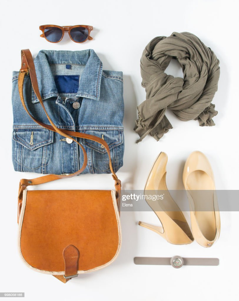 39b8a00bf6f6f Stylish female clothes set. Woman/girl outfit on white background. Blue  denim jacket