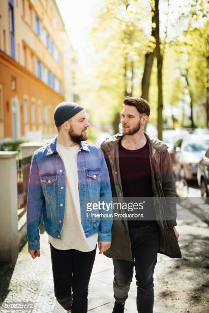 Stylish Gay Couple Out Walking Together