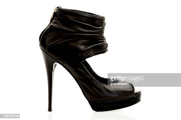 Stylish high heels ankle boot in black leather.