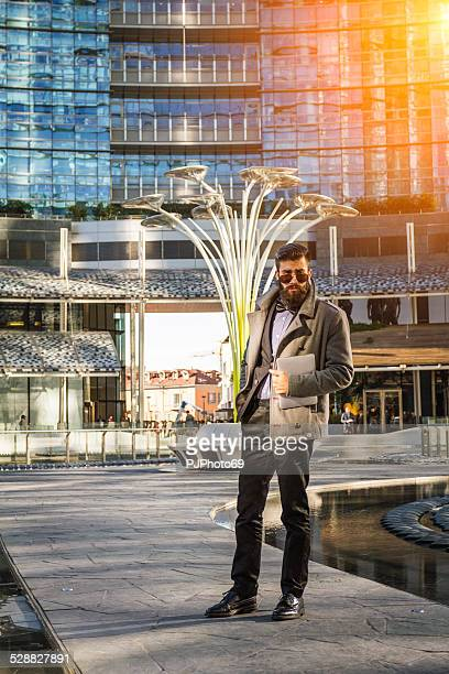 stylish hipster outside business building - pjphoto69 stock pictures, royalty-free photos & images