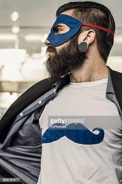estilo hipster superhéroe muestra mustaches en camiseta - pjphoto69 fotografías e imágenes de stock