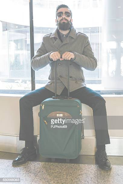 Stylish Hipster with luggage