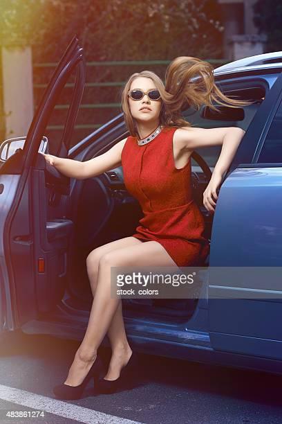stylish in her fashion car