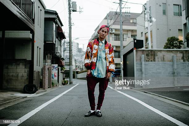 Stylish Japanese man poses for the camera