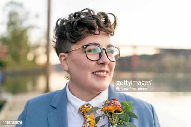 Stylish lesbian bride on her wedding day