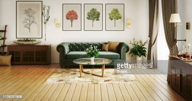 stylish living room - sofa stock pictures, royalty-free photos & images